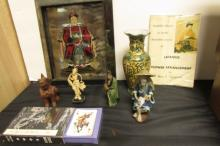 Assorted Asian Figurines, Vase, Painted Metal