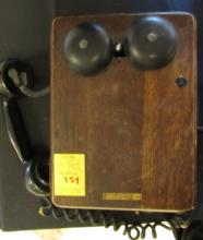 Kellogg  Oak Case Phone Crank Wall