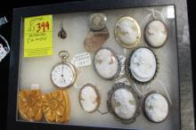 7 Carved Cameo Pins, Waltham Watch, Bakelite Clips