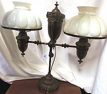 ANTIQUE DOUBLE LIGHT STUDENT OIL LAMP