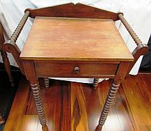 ANTIQUE SIDE TABLE WOOD CARVED WASH STAND DRY SINK