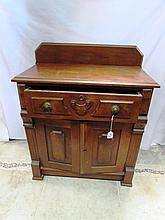 EARLY ANTIQUE OAK DRY SINK WASH STAND CABINET