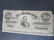 1864 CONFEDERATE STATES $50 DOLLAR PAPER NOTE