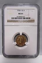 1928 $2 1/2 DOLLAR US GOLD INDIAN COIN MS 61 NGC