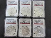 6 US SILVER 2011 MS69 EAGLE COIN EARLY RELEASE NGC