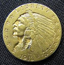 1913 US $2-1/2 Dollar Gold Indian Head Coin UNC
