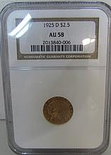 1925 D $2.5 DOLLAR GOLD INDIAN US COIN AU 58