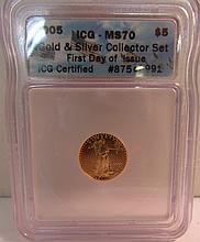 2005 US $5 DOLLAR GOLD MS 70 FIRST DAY COIN