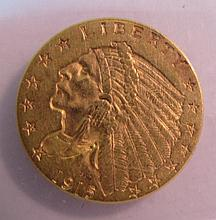 1915 US GOLD $2 1/2 DOLLAR INDIAN COIN