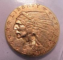 1912 US GOLD $2 1/2 DOLLAR INDIAN COIN