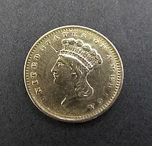 1856 US $1 DOLLAR GOLD PRINCESS COIN