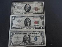 3 US PAPER NOTES: $10 DOLLAR 1929 ASHLAND PA