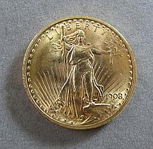 1908 ST GAUDENS $20 US GOLD COIN