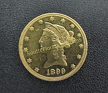 1899 $10 LIBERTY GOLD US COIN PROOF LIKE FIELD