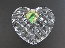 WATERFORD HEART CUT CRYSTAL PAPERWEIGHT & BOX