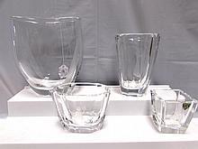 ORREFORS CRYSTAL VASES 4 SIGNED GLASS SWEDEN
