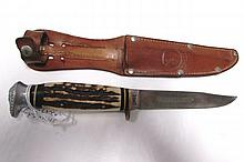 SPESCO SOLINGEN 2047 KNIFE STAG & SHEATH GERMANY