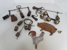 LOT OF PRIMITIVE METAL BELLS, SCALE, DECORATIONS