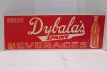 DYBALAS SPRING BEVERAGES TIN ADVERTISING SIGN