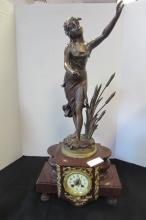 FRENCH  MARBLE FIGURAL CLOCK TIME & STRIKE