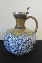 DOULTON LAMBETH POTTERY PITCHER LID SILVER PLATE