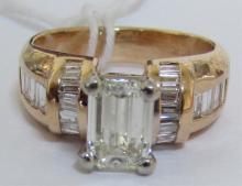2CT DIAMOND RING VVS 14K YELLOW GOLD
