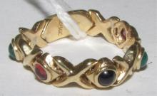 EMERALD RUBY SAPPHIRE RING CABACHON 14K GOLD