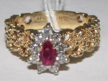 RUBY DIAMOND RING 14K YELLOW GOLD