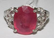 5.6CT RUBY STERLING SILVER RING W APPRAISAL