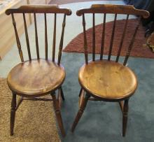 2 WINDSOR  SIDE CHAIRS GENUINE ANTIQUE 1800s