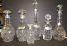 6 DECANTERS CRYSTAL GLASS WATERFORD
