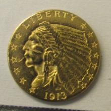 1913 UNC $2.5 INDIAN HEAD US GOLD COIN