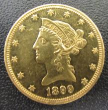 1899 $10 PROOF-LIKE US GOLD LIBERTY UNC