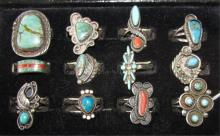 12 NATIVE AMERICAN RINGS CORAL & TURQUOISE