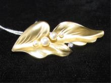 KELP LEAF & PEARL 14K DIAMOND PIN BROOCH