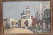 W H COX OIL ON CANVAS PAINTING MIDDLE EAST STREET