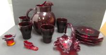 12 PC RUBY GLASS ANCHOR HOCKING DISHES