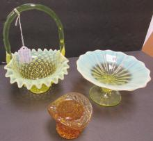 3PC FENTON HOBNAIL YELLOW GLASS