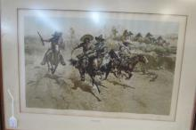 FRANK McCARTHY LITHOGRAPH HAND SIGNED RAIDERS