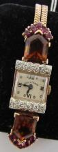 PAUL DITISHEIM WATCH 14K ROSE GOLD RUBY DIAMOND