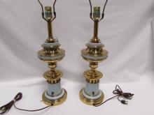 2 STIFFEL TABLE LAMPS HEAVY BRASS 29