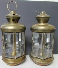 2 ETCHED GLASS & BRASS SHIP'S LANTERNS 11
