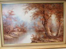 OIL ON CANVAS RIVER COTTAGE UNSIGNED ART