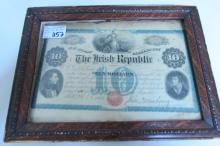 1866 IRISH REPUBLIC TEN DOLLAR BOND NOTE FRAMED