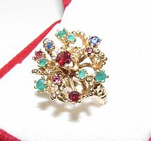 PRINCESS CLUSTER RING 14K GOLD RUBY EMERALD