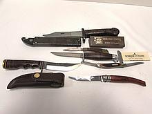 KNIFE LOT OPINEL SCHRADE OLD TIMER BAYONET AKM