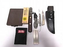 KNIFE LOT SHEATH BOX CIGAR TOOL SHARPENER CASE xx