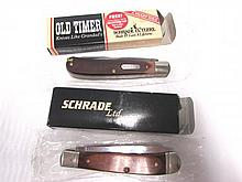 2 KNIVES OLD TIMER SCHRADE LTD 960T 296WC NIB