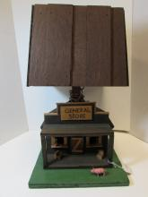 WOOD FOLK ART LAMP PIG GENERAL STORE TRAMP ART
