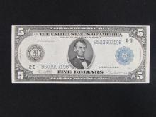 $5 FEDERAL RESERVE NOTE 1914 PAPER US BILL